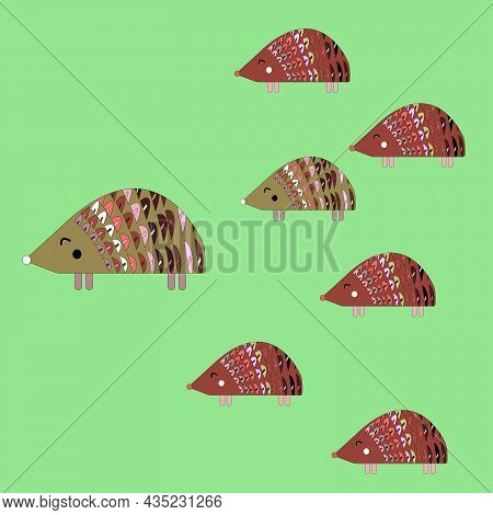Cute Animals Hedgehog Happy Family, With Father And Children, Sons And One Daughter On Green Isolate