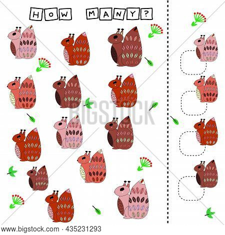 How Many Counting Game With Funny Squirreles. Worksheet For Preschool Kids, Kids Activity Sheet, Pri