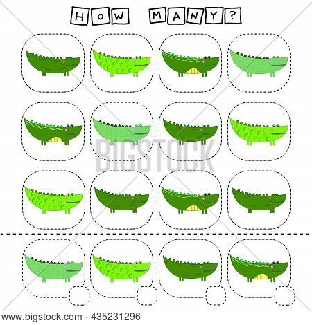 How Many Counting Game With Funny Crocodiles. Worksheet For Preschool Kids, Kids Activity Sheet, Pri