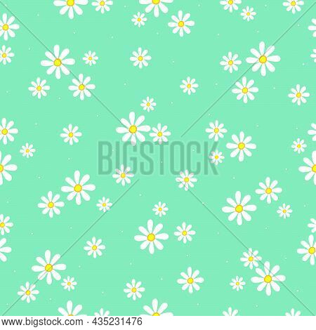 Beautiful Seamless Patterns Small And Large Floral Background Placed Randomly Distributed On A Blue