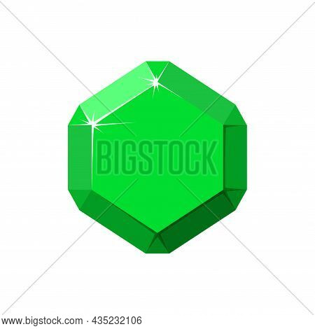 Hexagon Green Gemstone. Emerald Top View. Cartoon Vector Illustration Isolated In White Background