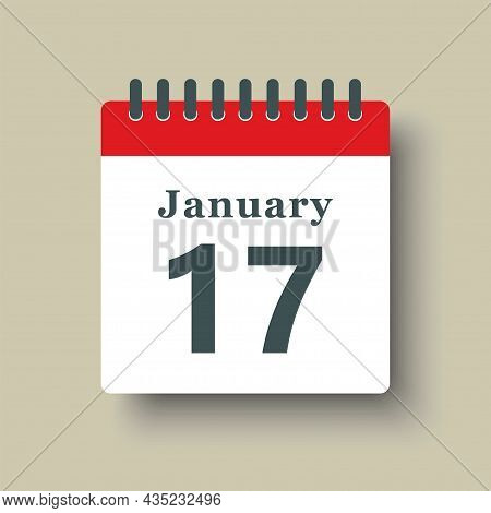 Icon Day Date 17 January, Template Calendar Page