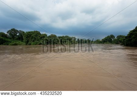Overflowing Water In The Canal Results From The Drainage During The Rainy Season Of The Pa Sak Dam I