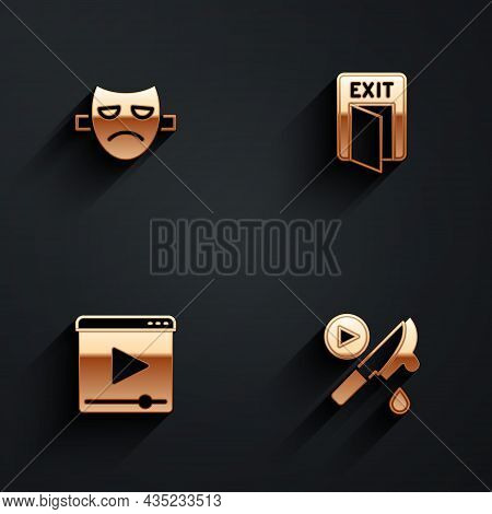 Set Drama Theatrical Mask, Fire Exit, Online Play Video And Thriller Movie Icon With Long Shadow. Ve