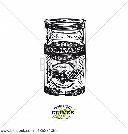 Canned Olives, Hand Drawn Retro Vector Illustration. Aluminium Can With Preserve, Template For Packa