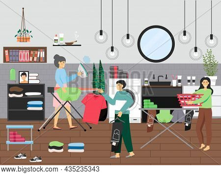 People Doing Domestic Laundry, Ironing And Folding Clothes, Cleaning Bathroom, Vector Illustration.