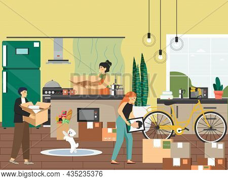 Family Moving To New House, Vector Illustration. People Packing Kitchen Utensils In Cardboard Boxes.