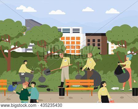 Volunteers Collecting Garbage, Planting Trees In City Park, Vector Illustration. Volunteering, Ecolo