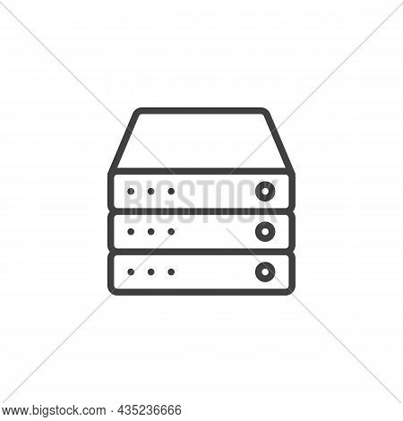 Database Server Line Icon. Linear Style Sign For Mobile Concept And Web Design. Computer Server Outl