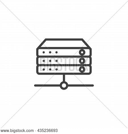 Rack Servers Line Icon. Linear Style Sign For Mobile Concept And Web Design. Database, Server Outlin