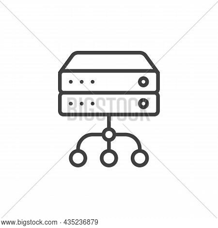 Database Server Connection Line Icon. Linear Style Sign For Mobile Concept And Web Design. Data Serv