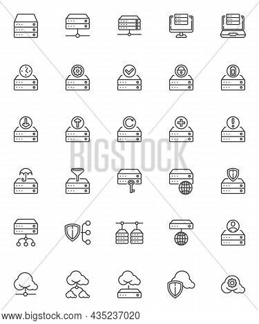 Database System Line Icons Set. Linear Style Symbols Collection, Outline Signs Pack. Data And Hostin