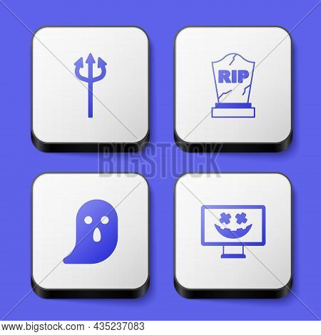 Set Trident Devil, Tombstone With Rip Written, Ghost And Happy Halloween Holiday Icon. White Square