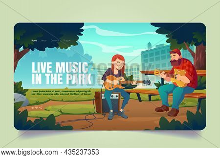Live Music In Park Banner. People With Acoustic And Electric Guitars Perform Outdoor. Vector Landing