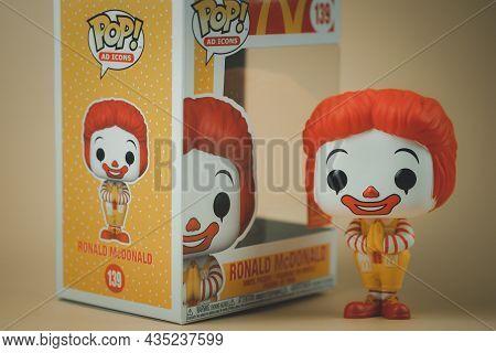 Bangkok, Thailand - October 6, 2021 : Cute Figurine Of Ronald Mcdonald's Thailand Exclusive, Illustr