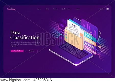 Data Classification Banner. Concept Of Sorting And Organization Information And Documents On Compute