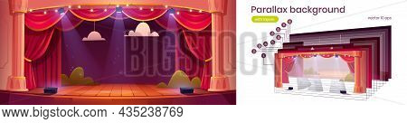 Parallax Background For Game, 2d Cartoon Theater Stage With Red Curtains And Spotlights. Theatre Int