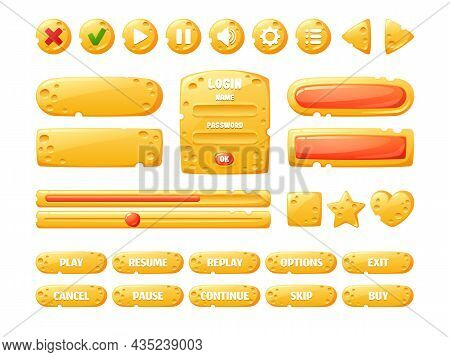 Cheese Game Ui Buttons, Cartoon Menu Interface Gui Elements Of Yellow Color With Holes Texture. Prog