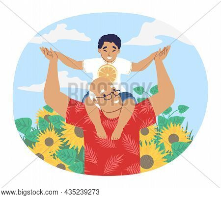 Grandfather Walking With Grandson Sitting On His Shoulders, Vector Illustration. Grandparent Grandch