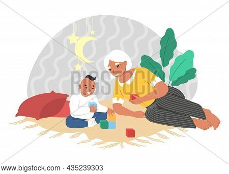 Happy Grandmother Playing With Grandson Sitting On Carpet, Vector Illustration. Grandparent Grandchi