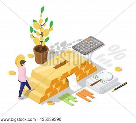 Businessman Investing In Gold Bars, Vector Isometric Illustration. Financial Investment Concept.
