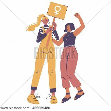 Two Strong Diverse Girls With Raised Fist And Female Gender Sign. Women Equality Day, Girl Power, Em