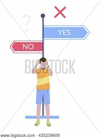 Man Making Life Choice Standing In Front Of Direction Road Signs. Life Changing Decision, Vector Ill