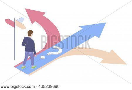 Businessman Choosing Path Standing At Crossroads, Vector Isometric Illustration. Decision Making, Bu