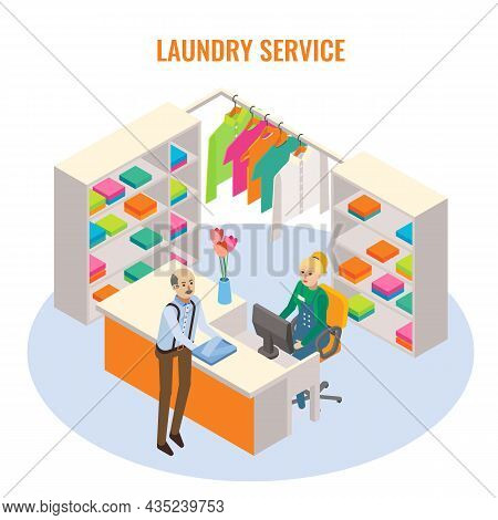 Laundry Reception Interior With Receptionist And Customer Characters, Vector Isometric Illustration.