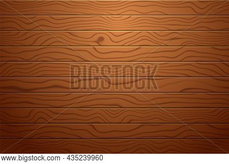 Wood Board Background, Realistic Brown Wooden Plank, Natural Wood Texture, Vector Illustration.