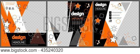 Modern Orange And Black Design For Presentations Templates With Space For Photo Background. Annual R