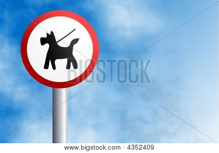 Keep your dog on a lead sign set against a sky background. poster