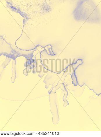 Wedding Card Design. Yellow Pastel Fluid Splash. Contemporary Paint Background. Gradient Alcohol Ink