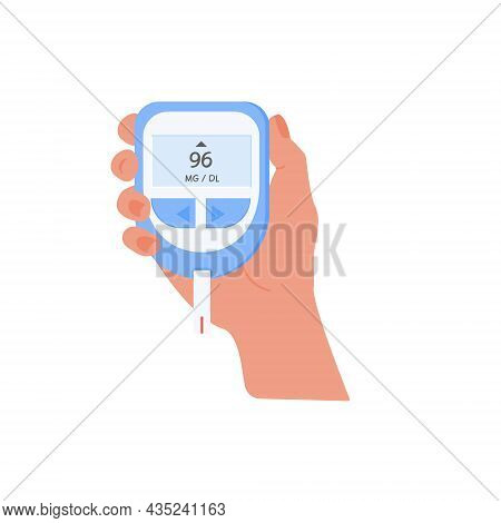 Human Hand Holding Glucometer To Measure Sugar Level By Finger Stick. Blood Glucose Test. Diabetes M