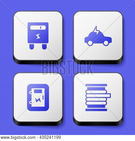 Set Electric Meter, Car, Electrical Panel And Wire Electric Cable On Reel Icon. White Square Button.