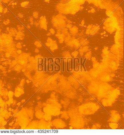 Abstract Dye. Hippie Art Texture. Orange Batik Shirt. Circle Dyed Effect. Artistic Design. Color Dre