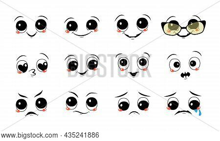 Set Of Faces With Different Emotions. Joyful And Sad Smiles, Tears And Happiness, Angry, Or Frowning
