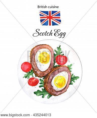 Scotch Egg, Rucola And Tomatoes Illustration Isolated On White Background. British Cuisine