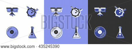 Set Balalaika, Bongo Drum, Vinyl Disk And Drum With Sticks Icon. Vector