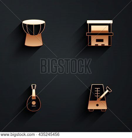 Set African Darbuka Drum, Piano, Mandolin And Metronome With Pendulum Icon With Long Shadow. Vector