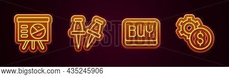 Set Line Board With Graph, Push Pin, Buy Button And Gear Dollar Symbol. Glowing Neon Icon. Vector