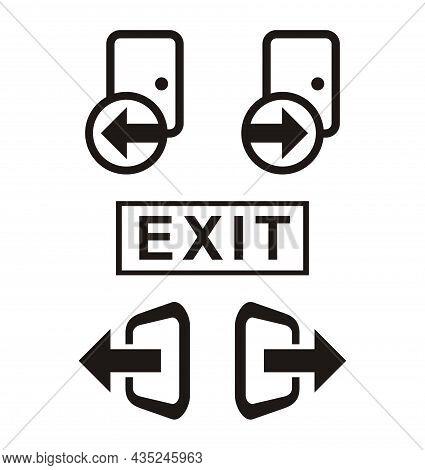 Exit Door Icon Vector - Symbol Of Door Exit - Exit Room Logo Design