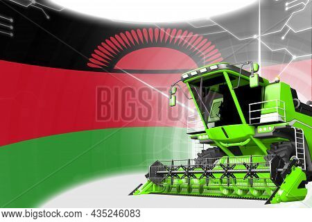 Agriculture Innovation Concept, Green Advanced Wheat Combine Harvester On Malawi Flag - Digital Indu