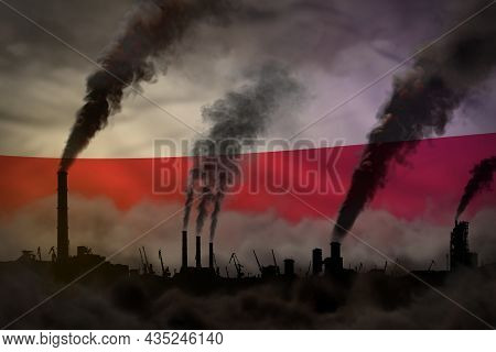 Dark Pollution, Fight Against Climate Change Concept - Industrial 3d Illustration Of Plant Chimneys