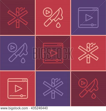 Set Line No Smoking, Online Play Video And Thriller Movie Icon. Vector