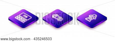 Set Isometric Line Cinema Auditorium With Screen, Movie, Film, Media Projector And Science Fiction I