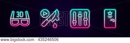 Set Line 3d Cinema Glasses, Thriller Movie, Sound Mixer Controller And Backstage. Glowing Neon Icon.