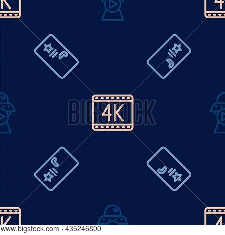 Set Line Science Fiction, Backstage And 4k Movie On Seamless Pattern. Vector