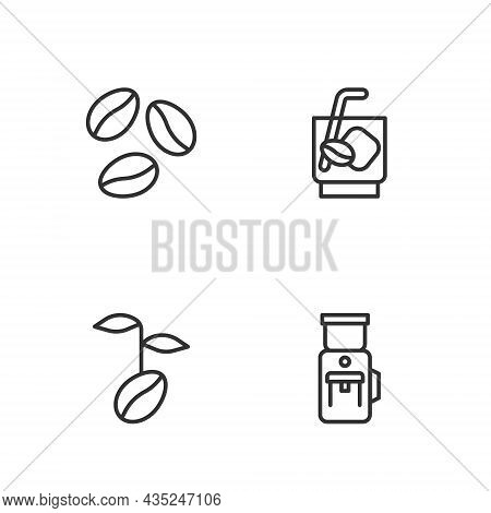 Set Line Electric Coffee Grinder, Coffee Beans, And Espresso Tonic Icon. Vector