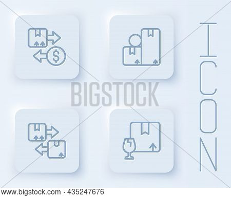 Set Line Tax Cardboard Box, Carton, Cardboard With Traffic Symbol And Package Fragile Content. White